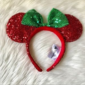 Disney Red Green Christmas Mickey Ears Headband
